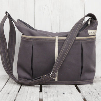 Gray Canvas Diaper bag Weekender bag Medium tote bag Grey shoulderbag adjustable strap