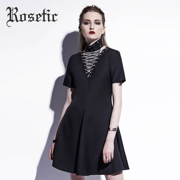 Rosetic Gothic Dress Black Summer A-Line Lace-Up Patchwork Women Rivet Casual Dress Fashion Street Punk Young Girl Goth Dresses