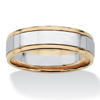 Men's Two-Tone Comfort-fit Wedding Band in 10k Gold