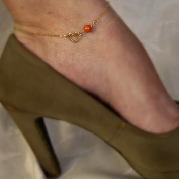 Gold Heart Anklet with Coral Bead Best Friend jewelry Sorority gift Girlfriend gift Wedding Gifts Something blue Shower Gifts