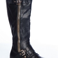 Forever Haute Harness Buckled Mid Calf Gold Zipper Riding Boots - Black