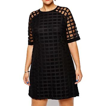 Checkered Pattern Mini Sheer Mesh Shirt Dress