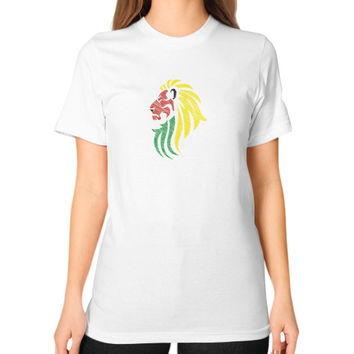 Lion Reggae Music Flag Colors Unisex T-Shirt (on woman)