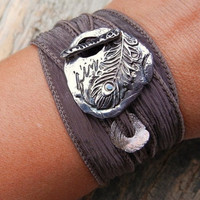 Fall Jewelry, Fall Fashion Accessory, Silk Ribbon Bracelet, Peacock Feather, Adjustable, Unique Feather Jewelry, Driftwood Brown