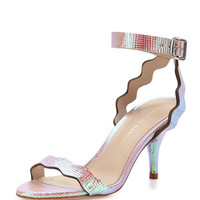 Loeffler Randall Reina Scalloped Leather Sandal, Iridescent