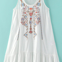 Sleeveless Ruffle Hem Embroidered A-Line Dress