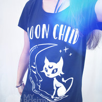 Moon Child tee shirt - MoonChild Soft Grunge flowy tshirt