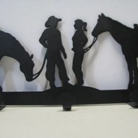 Cowgirl and Cowboy with Horses Coat Rack Western Metal Wall Art Silhouette, Art :: Metal Art :: Clickin Cowgirls