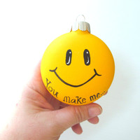 Smiley Face Christmas Tree  Ornament: Hand Painted Bauble Yellow smiley face smile