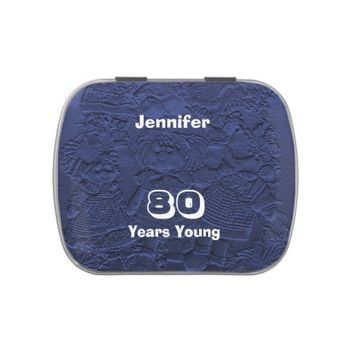 Dark Blue Doll Candy Tin Party Favor 80th Birthday