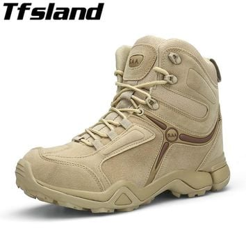 2018 Winter Men Military Tactical Combat Boots Male Sports Outdoor Army Desert Snow Boots Hiking Shoes Leather trekking Sneakers