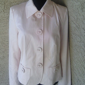 Pink coat - jacket - blazer- spring summer - talbot's feminine classic size 8 cotton and spandex bow buttons  snap front