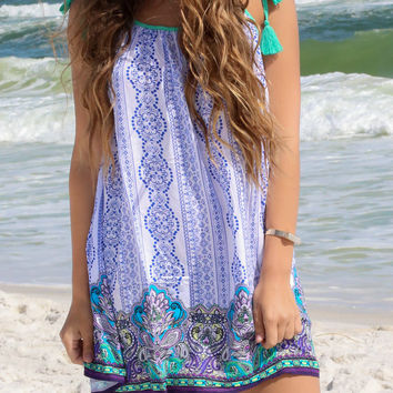 Venice Dreams Blue Drawstring MuMu Dress