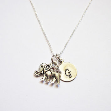 Tiny Sterling Silver Elephant Necklace personalized elephant necklace on Sterling Silver Fine Chain Sterling silver Necklace initial jewelry