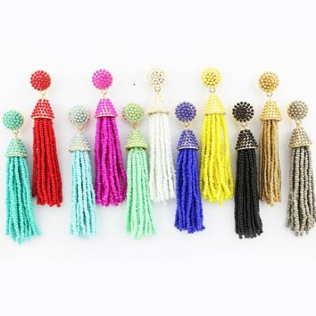 GET IT GIRL 2017 Hot Selling Seed Beads Tassel Earrings for Women Handmade Long Earrings Fashion Jewelry Statement Earrings