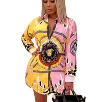 Versace New fashion human head pattern print contrast color long sleeve dress women