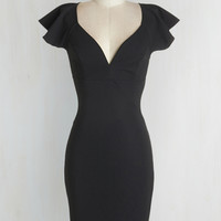 LBD Mid-length Short Sleeves Sheath Pinot Noir, Please Dress in Black by ModCloth