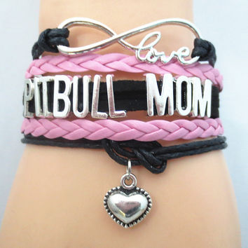Infinity Love Pitbull Mom Bracelet - Dog Lover Gift