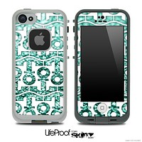 White and Trendy Green Glimmer Anchor Collage Skin for the iPhone 5 or 4/4s LifeProof Case