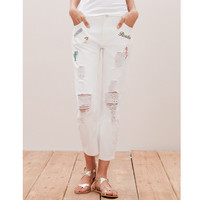 8022 Women Summer Fashion Solid Mid Waist Loose Thin Hole Light Patchwork Long Harem Pants Ripped Jeans With Zipper Fly LAYS