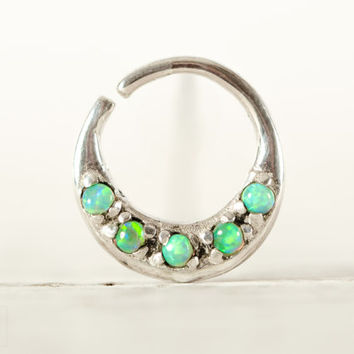 Septum Ring Nose Ring Septum Jewelry Body Light Green Opal Stone Piercing  Sterling Silver Indian Style 14g 16g - SE027R SS OP11