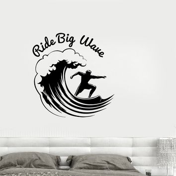 Wall Vinyl Sticker Decal Sports Decor Garage Man Cave Surf Wave Ride Unique Gift (ed542)