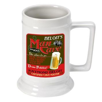 16oz. Ceramic Beer Stein - Man Cave