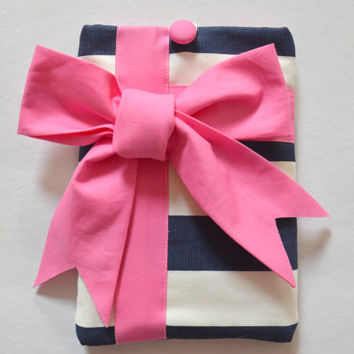 iPad Mini Case / iPad Mini Sleeve - Android / Tablet Case - Navy & White Stripe with Hot Pink Gift Bow