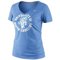 Nike North Carolina Tar Heels (UNC) Dri-FIT Ladies School Stamp Legend Performance V-Neck T-Shirt - Carolina Blue