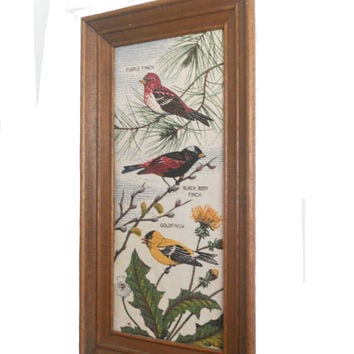 Vintage Bird Print Framed Wall Hanging 1960s Handprint by Kay Dee - A Series of Finches Printed on 100% Linen