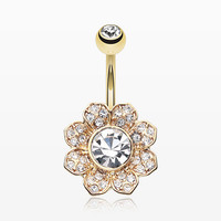 Golden Avens Flower Sparkle Belly Button Ring