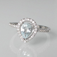 11 x 9mm Aquamarine Engagement Ring- Halo Ring- Promise Ring- March Birthstone Ring- Gemstone Ring- Engagement Ring- Pear Shape Ring- Ring