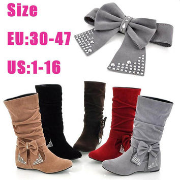 Bow Suede Wedge Flat Mid Calf Suede Slouchy Riding Boots For Women Small Big Plus Size 41 42 43 44 45 46 47 10 11 12 13 14 15