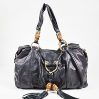 Gucci Black Leather Bamboo Tassel Shoulder Bag