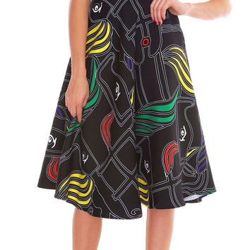 London Swings Full Skirt - Black Print