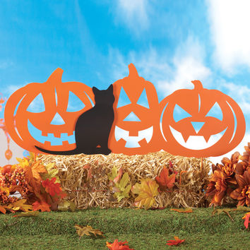Pumpkin Patch and Black Cat Yard Stake
