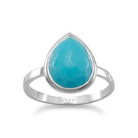Freeform Faceted Turquoise Pear Shape Stackable Ring