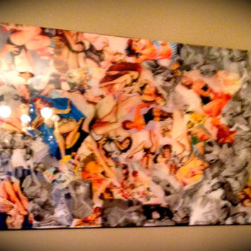 "PIN UP GIRLS! Vintage Inspired One of a Kind Wall Art ""Pin-up Honey"" ( 2x4 ft.) Sealed in high quality epoxy resin."