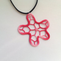 Pendant crochet red white freeform spiderweb star, romanian point lace