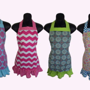 Kids Apron Set of 6 // Chevron Damask Mustache Floral // Great for Baking Party // Size 4-6-8-Young Adult