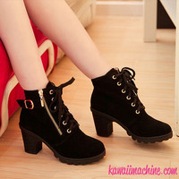 Kawaii Pastel Goth Thick Heel Black Lace Up Faux Suede Zipper Boots with Buckle from Kawaii Machine