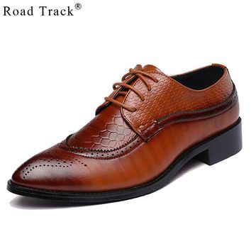 Road Track Large Size Brogue Fashion Men's Casual With Leather Shoes Male Singles Shoes