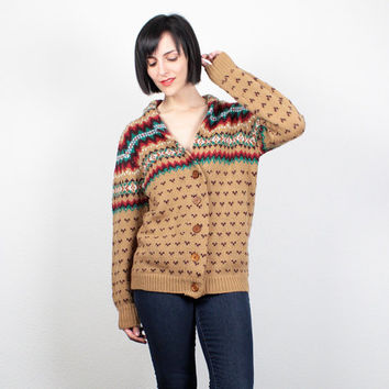 Vintage 70s Sweater Hippie Cardigan Tan Brown Fair Isle Sweater V Neck Jumper 1970s Nordic Sweater Cozy Knit Boyfriend Cardigan M L Large