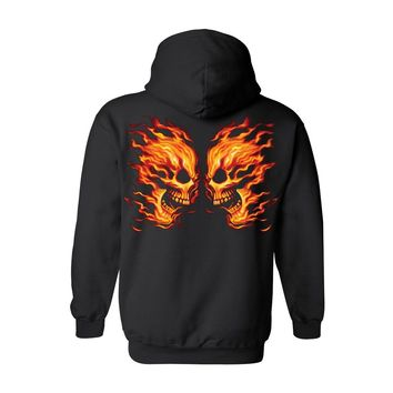 Unisex Pullover Hoodie Flame Face Off Skulls