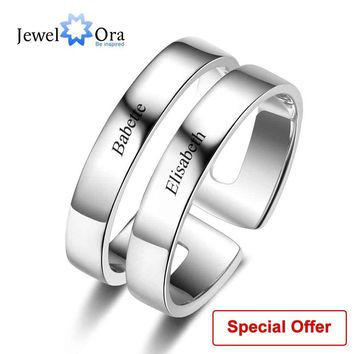 Personalized Gift For Her Engrave 2 Names Promise Rings For Women 925 Sterling Silver Anniversary Jewelry (JewelOra RI103289)