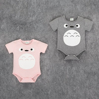 Toddle Baby Jumpsuit Cotton Short Sleeve Cartoon Totoro Series Newborn Baby Triangle Bodysuit Clothes For 0-2T LM99