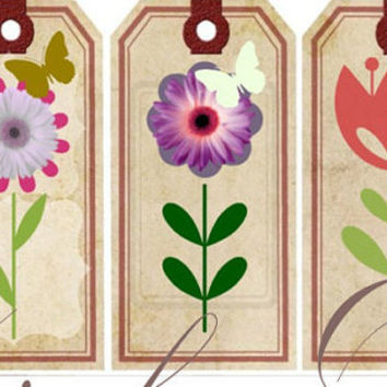 Country Pritable Tags, Gift Giving, Shabby Chic, Floral Tags, Birthday Tags, Downloadable Tags, Garden Tags, Gift Giving, Retro Gift Giving