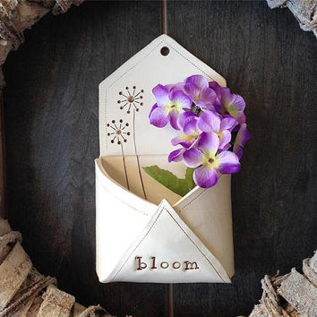 Unique Gift For Mom - Ceramic Wall Pocket - Garden Art - Flower Holder - Flower Vase - Ceramic Envelope - Rustic Home Decor - Ceramic Find