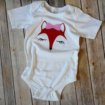 Girl Fox Shirt,  Fox Face Shirt, Girls Birthday Shirt, Girls Fox TShirt, Fox Birthday Shirt, Fox Face with Pink Bow Shirt, Woodland Theme