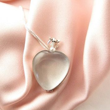 Beveled Glass Locket - Heart - Sterling Silver Chain Included